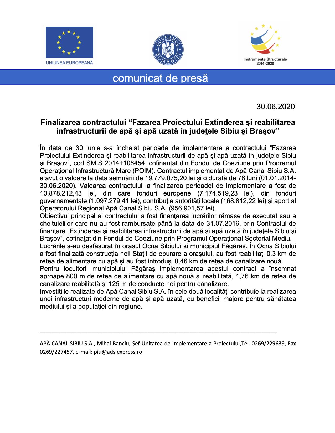 """Finalizarea contractului """"Fazarea Proiectului Extinderea şi reabilitarea infrastructurii de apă şi apă uzată în judeţele Sibiu şi Braşov"""""""