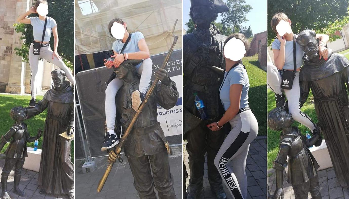 O sibiancă care s-a cățărat pe statuile din Cetatea Alba Carolina și s-a fotografiat indecent a fost amendată cu 1.000 de lei