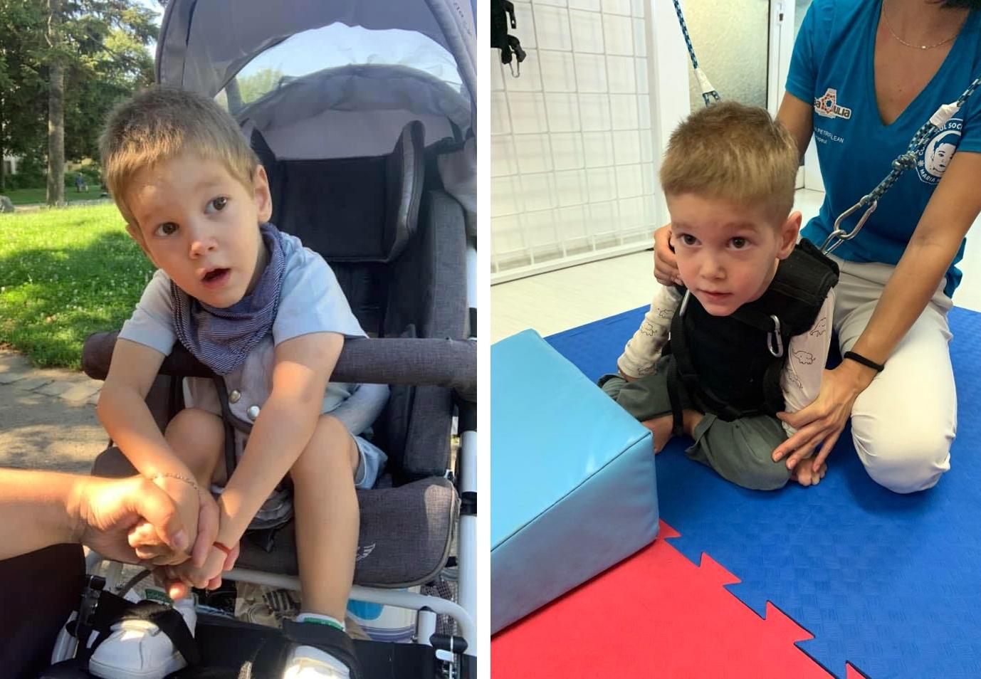 Șansele lui Erik Andrei pentru o viață normală costă mulți bani: Băiatul de doar 3 ani are nevoie de ajutor