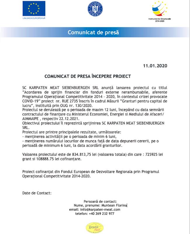 COMUNICAT DE PRESA ÎNCEPERE PROIECT