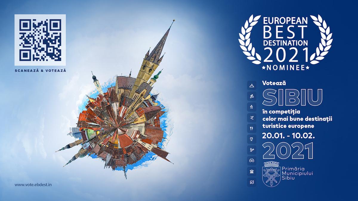 Primăria Sibiu: Votați Sibiul în competiția pentru cele mai bune destinații turistice europene în 2021