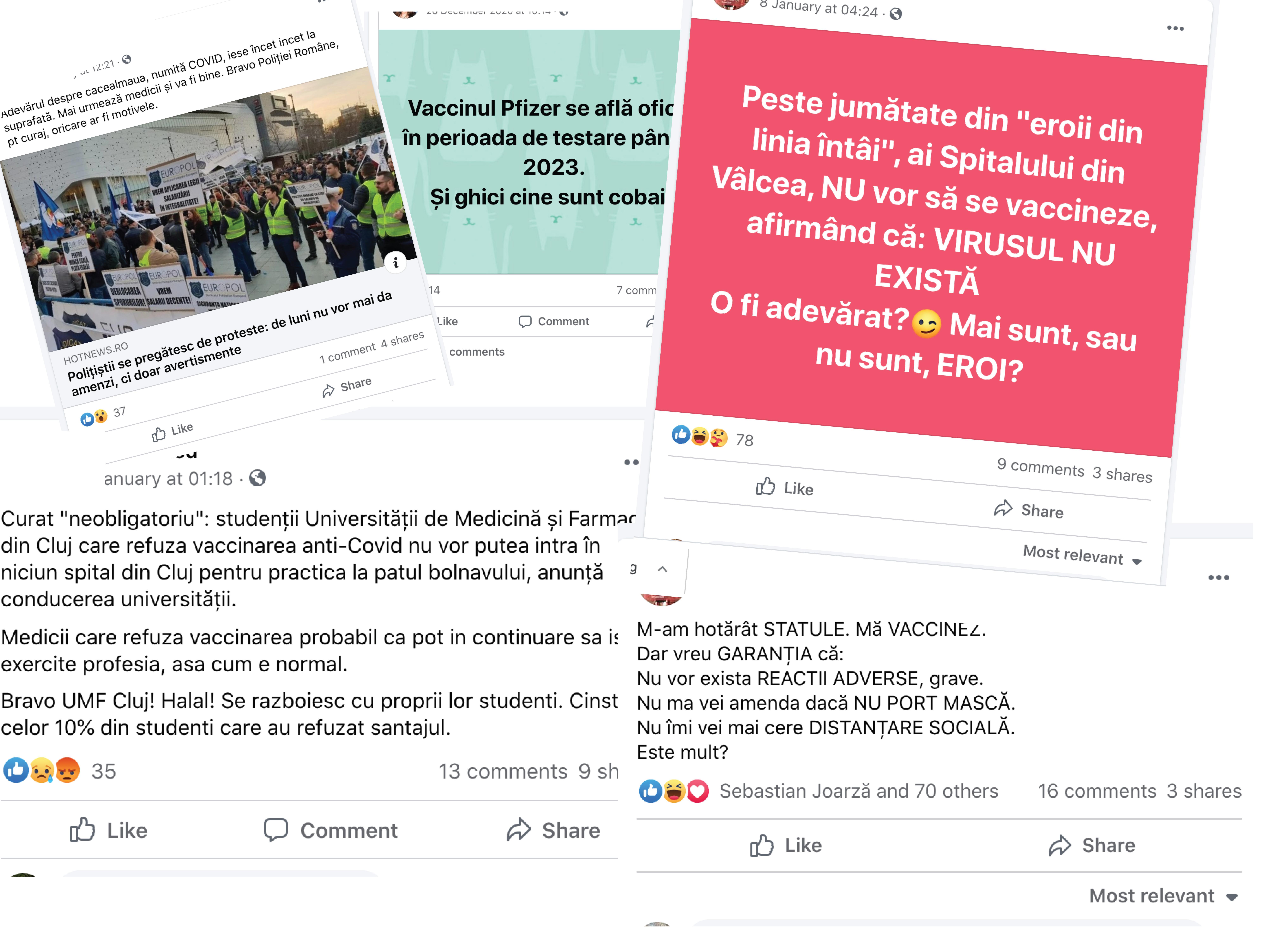 Anti-vacciniștii sibieni: Războinici pe Facebook, anonimi atunci când li se cere opinia