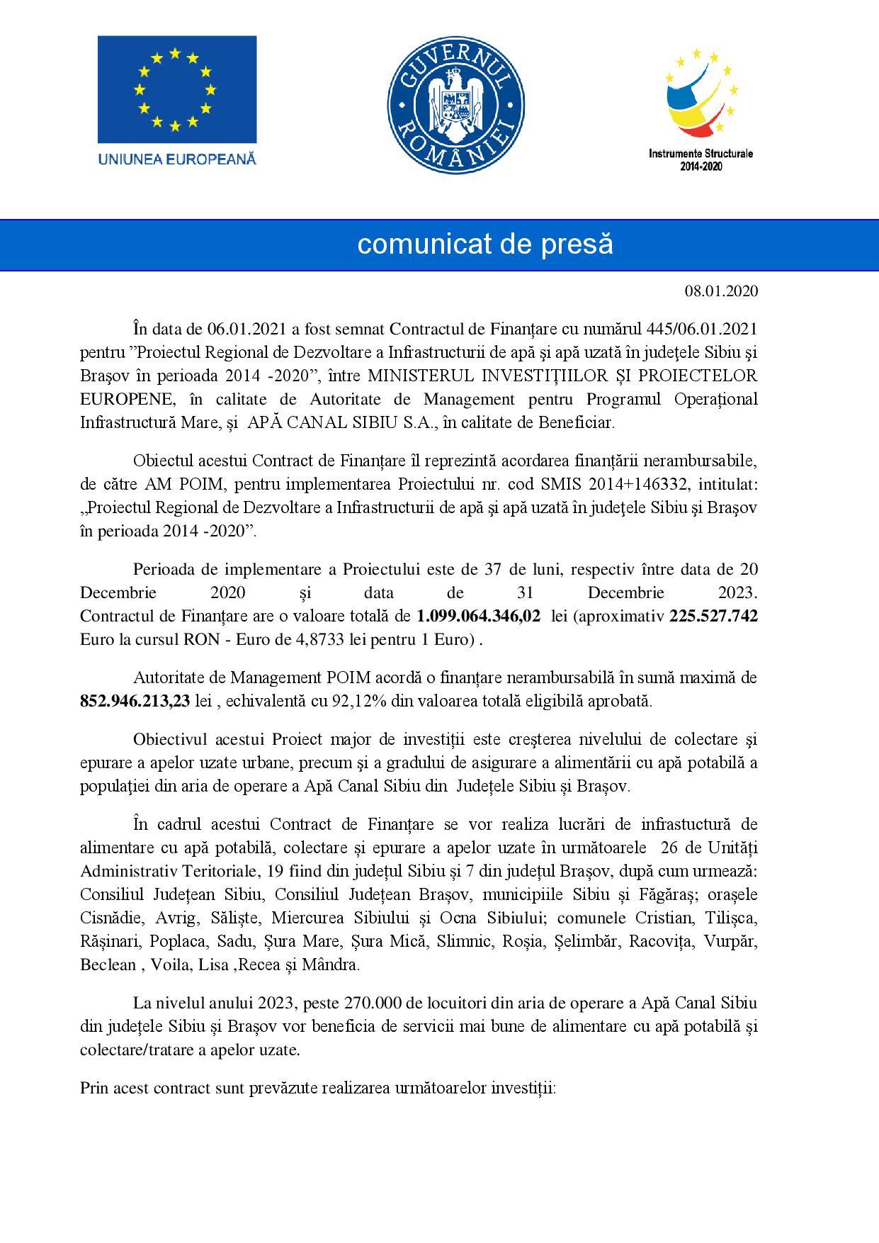 Comunicat de presă - semnare contract de finanțare POIM