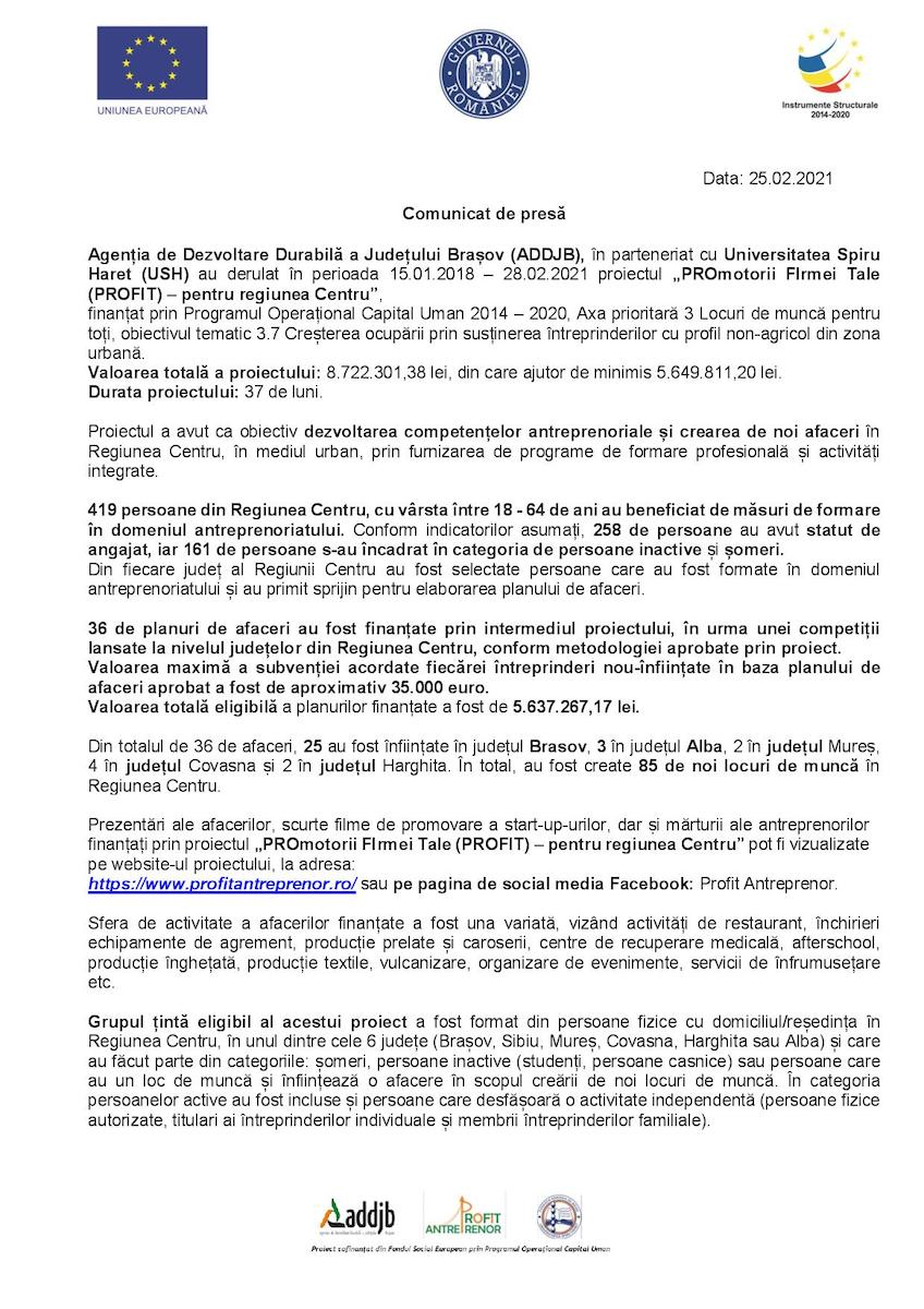 """Comunicat de presă - """"PROmotorii FIrmei Tale (PROFIT) – pentru regiunea Centru"""""""