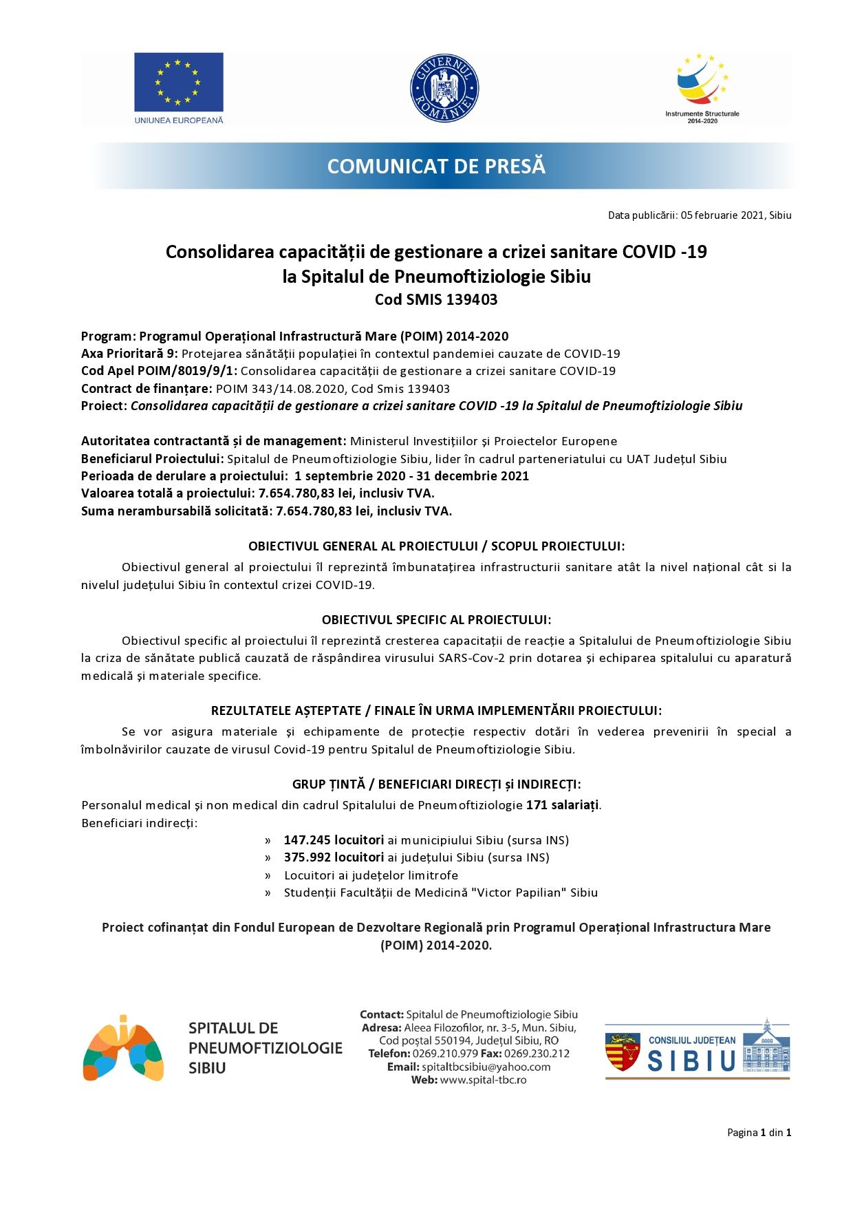 Comunicat de presă - Consolidarea capacității de gestionare a crizei sanitare COVID -19 la Spitalul de Pneumoftiziologie Sibiu Cod SMIS 139403