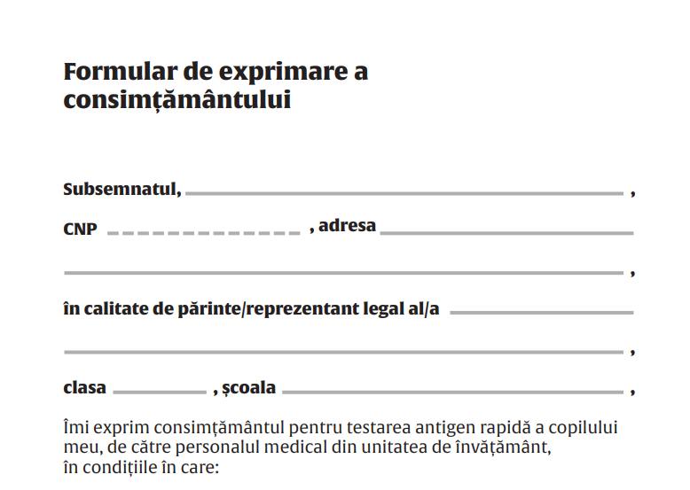 Document. Formularul pe care trebuie să-l semneze părinții pentru testarea COVID a elevilor la școală