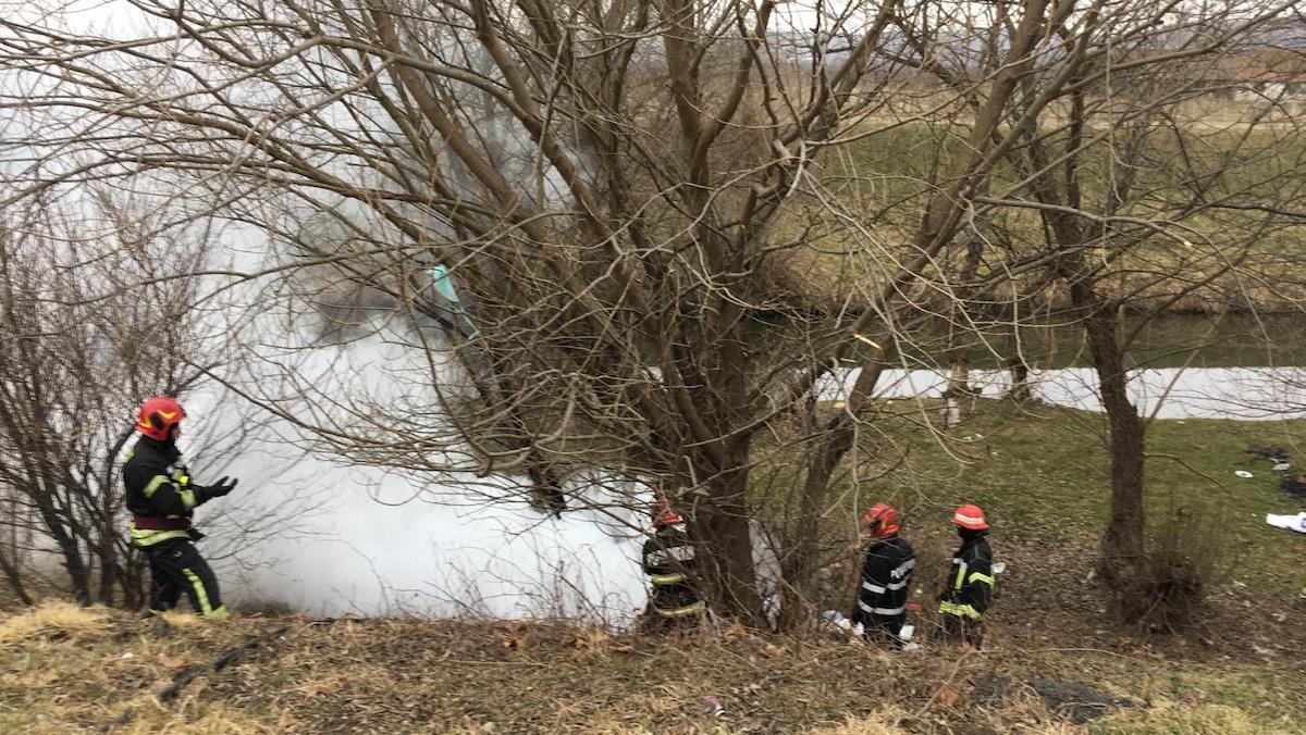 Incendiu izbucnit la un copac de pe malul Cibinului