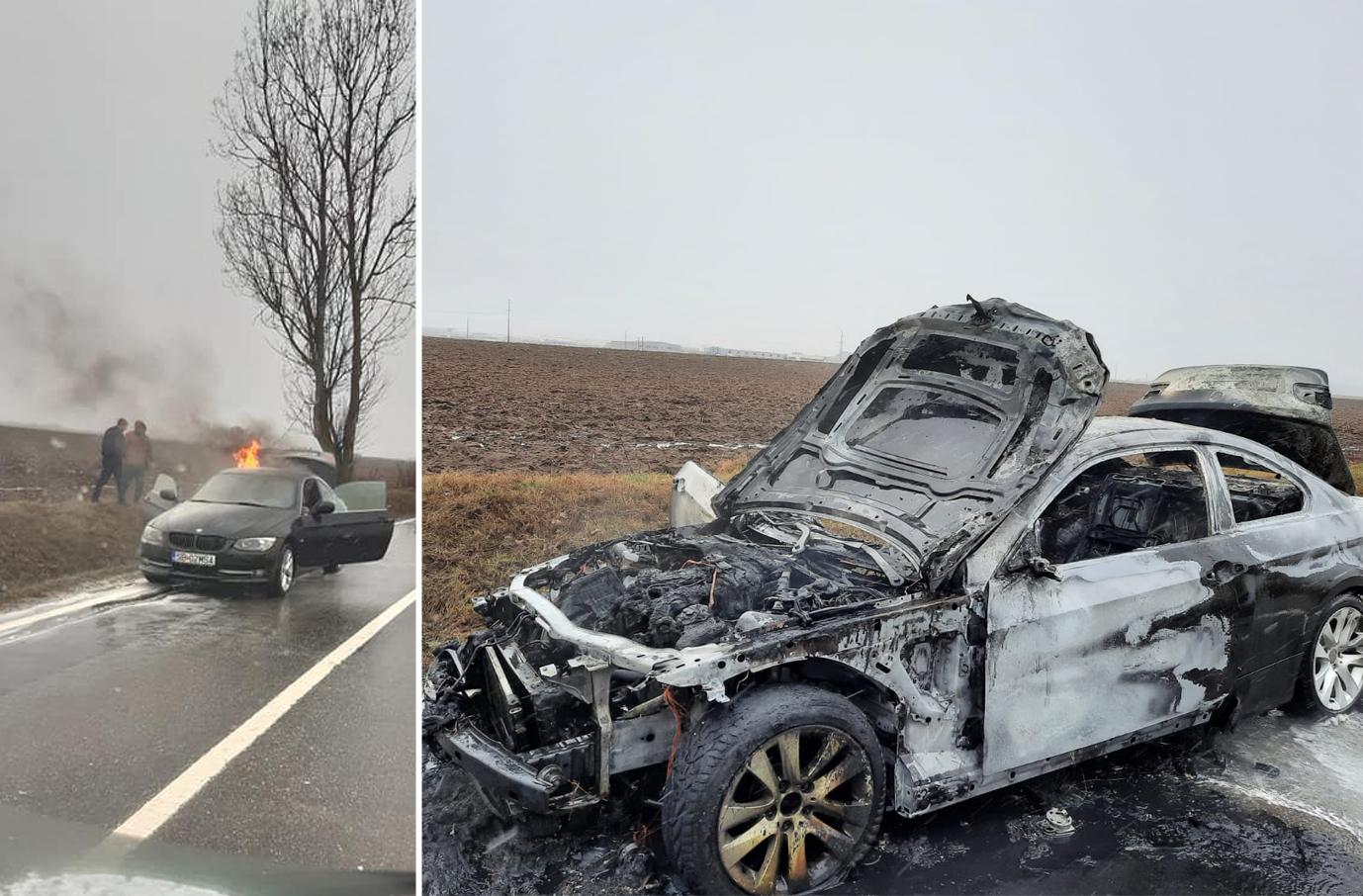 BMW distrus de un incendiu, pe Calea Șurii Mici