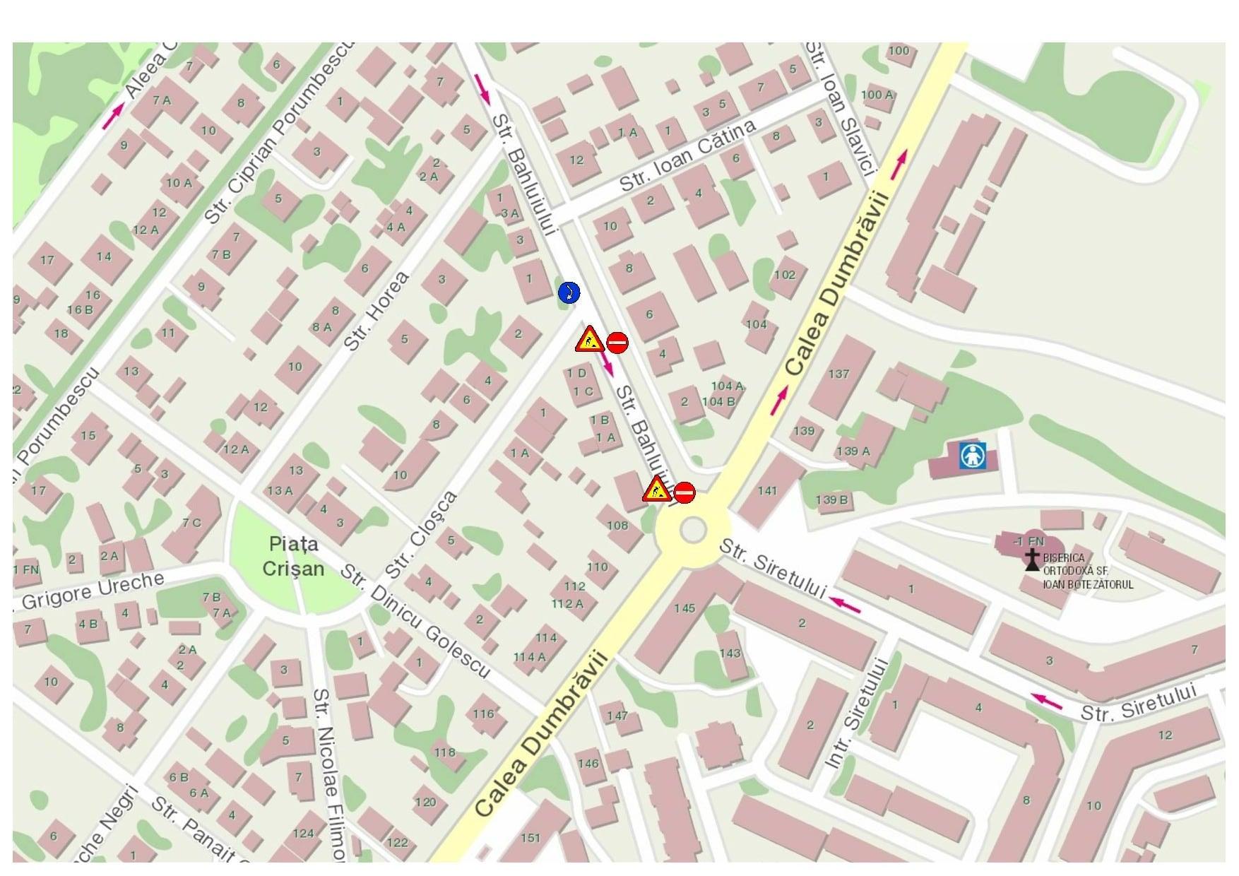 Primăria Sibiu anunță închiderea parțială a traficului pe strada Bahluiului, în week-end