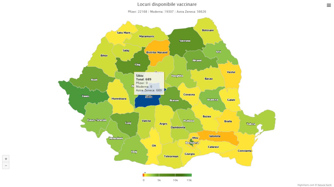 Liber la vaccinarea cu AstraZeneca, de vineri: 689 de locuri disponibile în Sibiu. Număr de ordine pentru cei de pe lista de așteptare