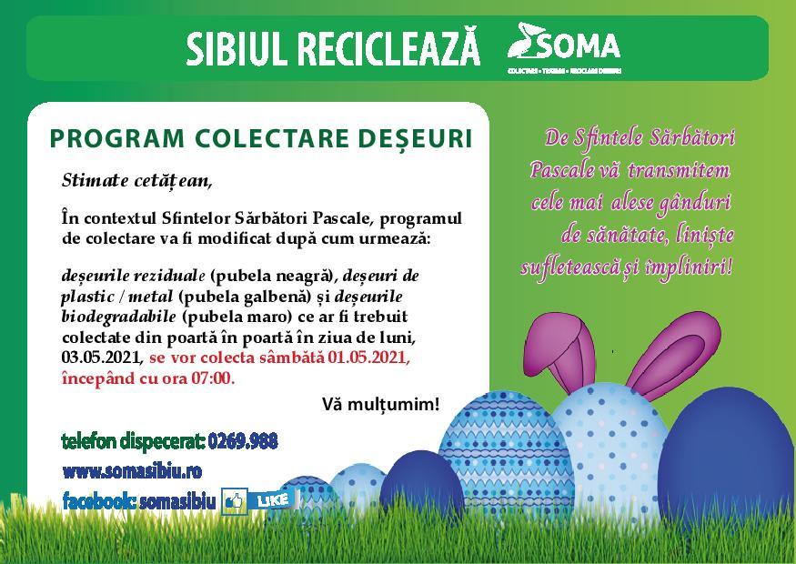 Programul de colectare al deșeurilor în perioada sărbătorilor de Paști