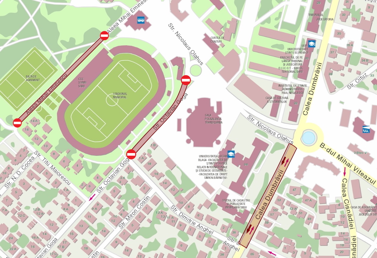 Strada Octavian Goga, închisă parțial traficului. Continuă lucrările de modernizare a Stadionului Municipal