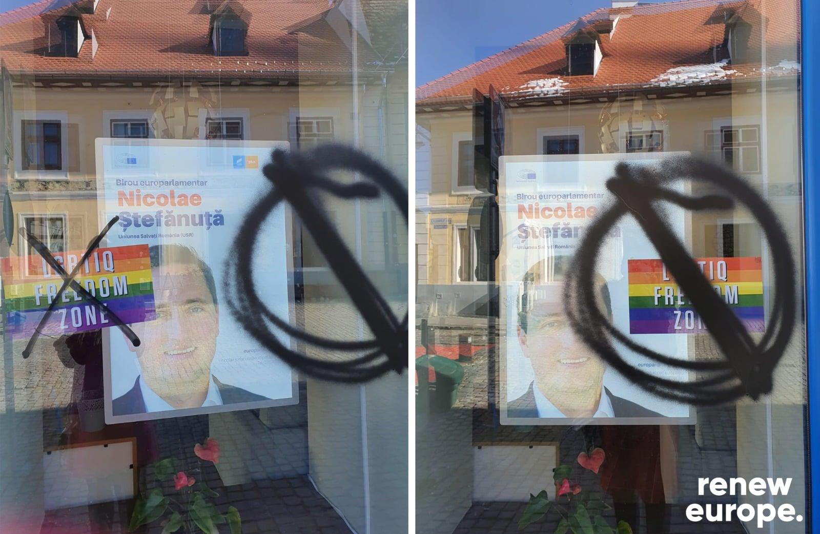 Cabinetul europarlamentarului Nicu Ștefănuță, vandalizat din cauza unui afiș LGBTIQ