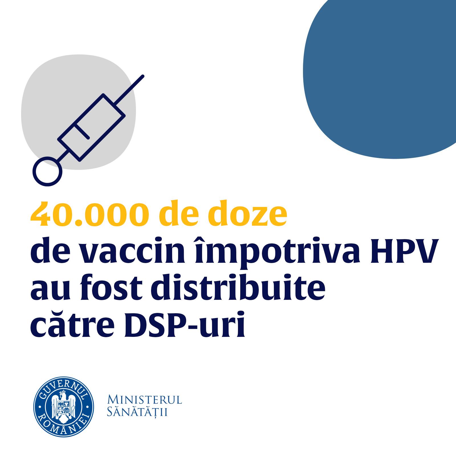 40.000 de doze de vaccin împotriva HPV, distribuite către direcțiile de sănătate publică