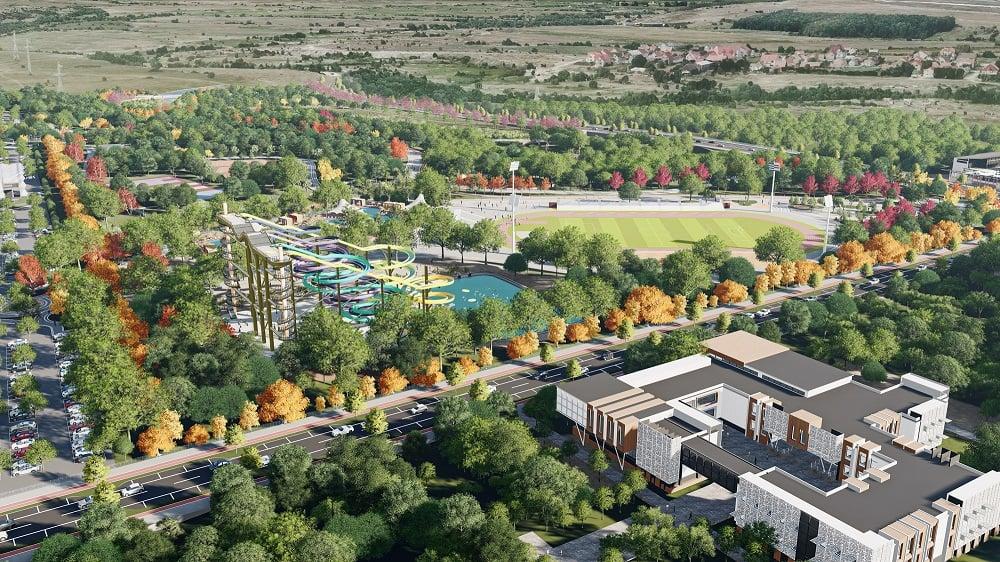 """FOTO Primăria a lansat simulările aqua park-ului, varianta de lângă Cibin. """"Vom începe dezbaterile publice"""""""