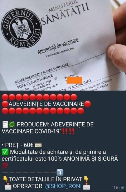 CERT-RO: campanie cu ''oferte'' de falsificare a adeverinţei de vaccinare