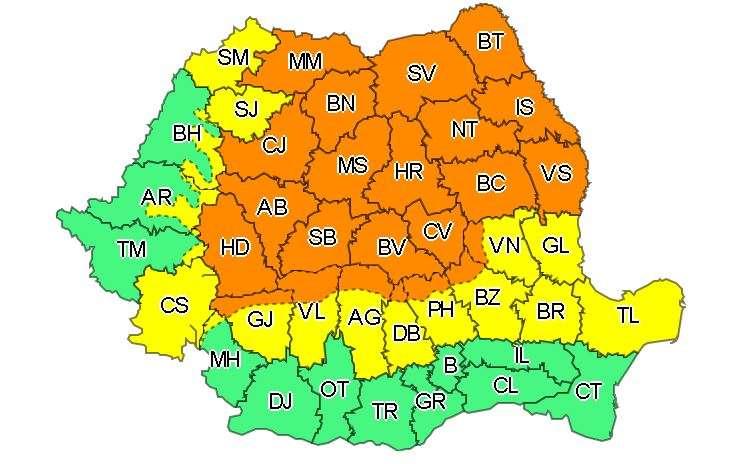 Cod portocaliu de ploi abundente în tot județul Sibiu