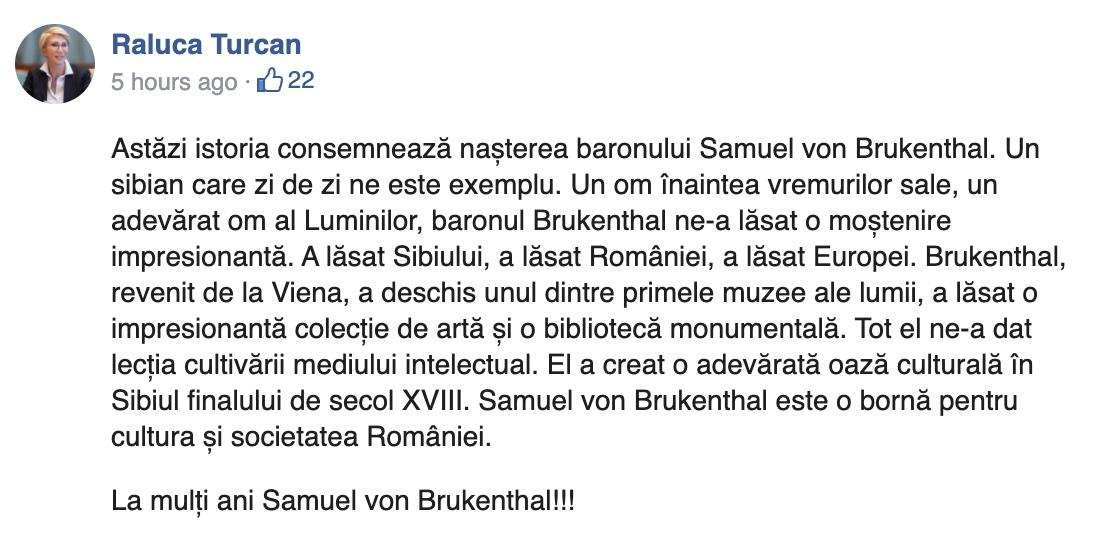 """Gafe în serie la 300 de ani de la nașterea baronului Samuel von Brukenthal. Raluca Turcan, Răzvan Pop, Tiberiu Drăgan i-au urat """"la mulți ani"""""""