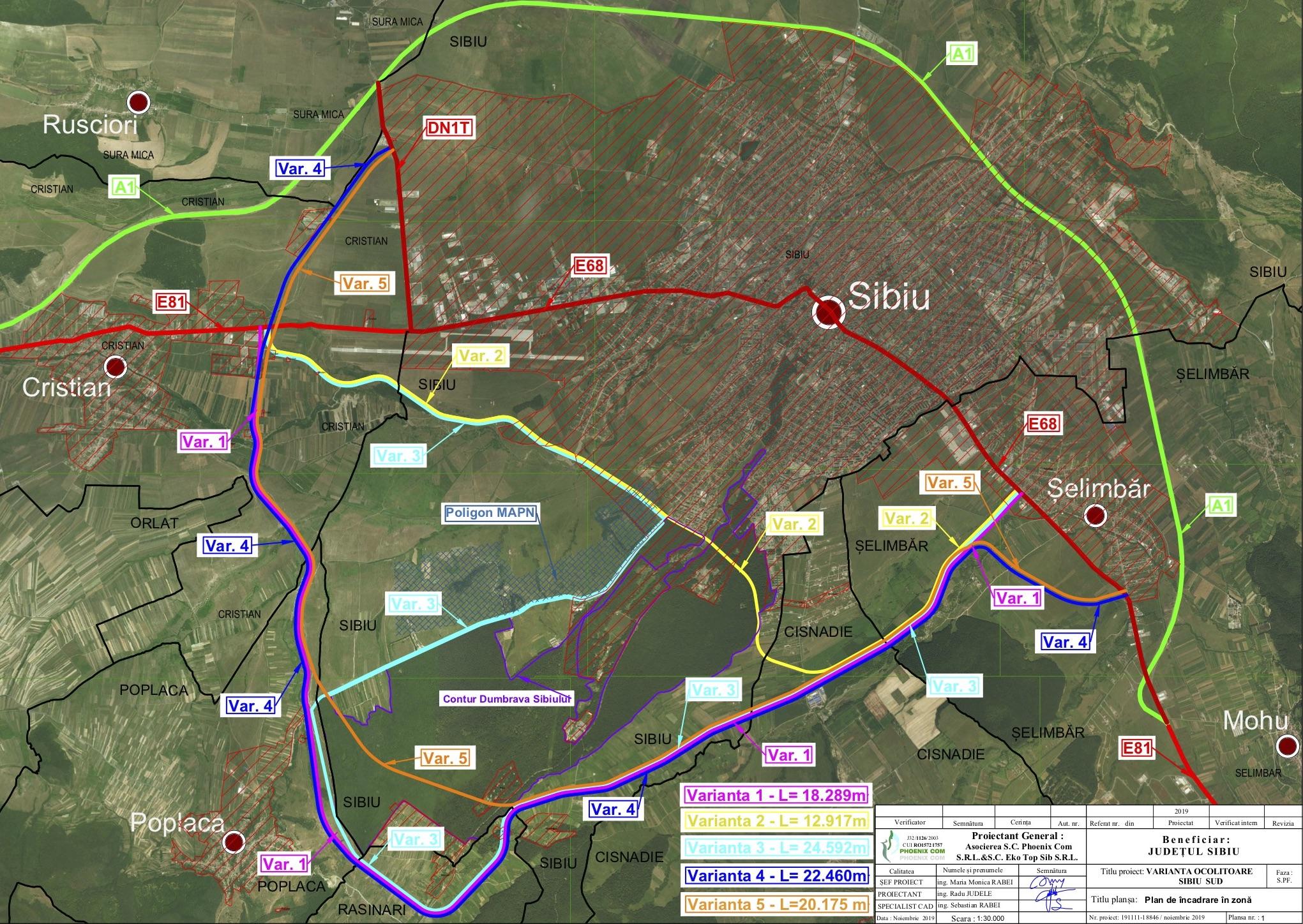 S-a semnat contractul pentru studiul de fezabilitate al Variantei Ocolitoare Sibiu Sud. Termenul de finalizare este începutul anului 2022