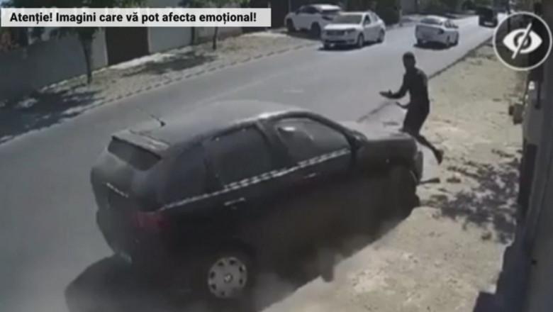 VIDEO. Un tânăr de 24 de ani a fost rănit grav, după ce a fost lovit intenționat de o mașină în Brăila