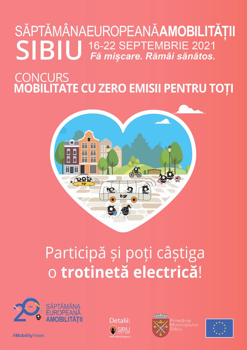 Săptămâna Europeană a Mobilității în Sibiu:  Astăzi începe concursul pentru cei mari, cu premii în trotinete electrice