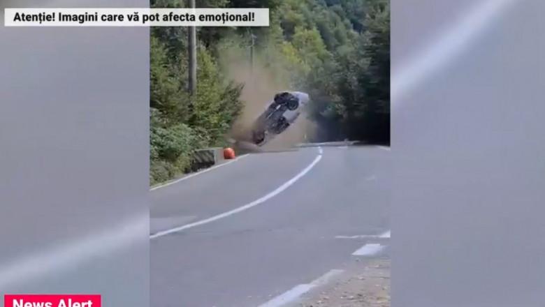 VIDEO. Accident spectaculos la raliul din Câmpulung Muscel. Din fericire, pilotul este teafăr