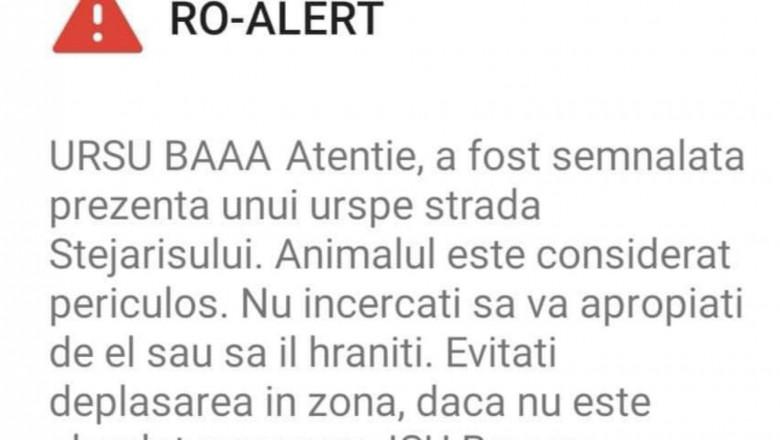 Mesaj RO-ALERT care începea cu URSUL BAAA  -  anchetă internă la ISU Brașov