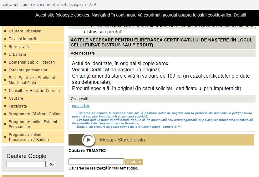 """Eroare pe site-ul Primăriei Sibiu: """"Un certificat de naștere pierdut trebuie adus în original"""". Greșeala a fost remediată"""