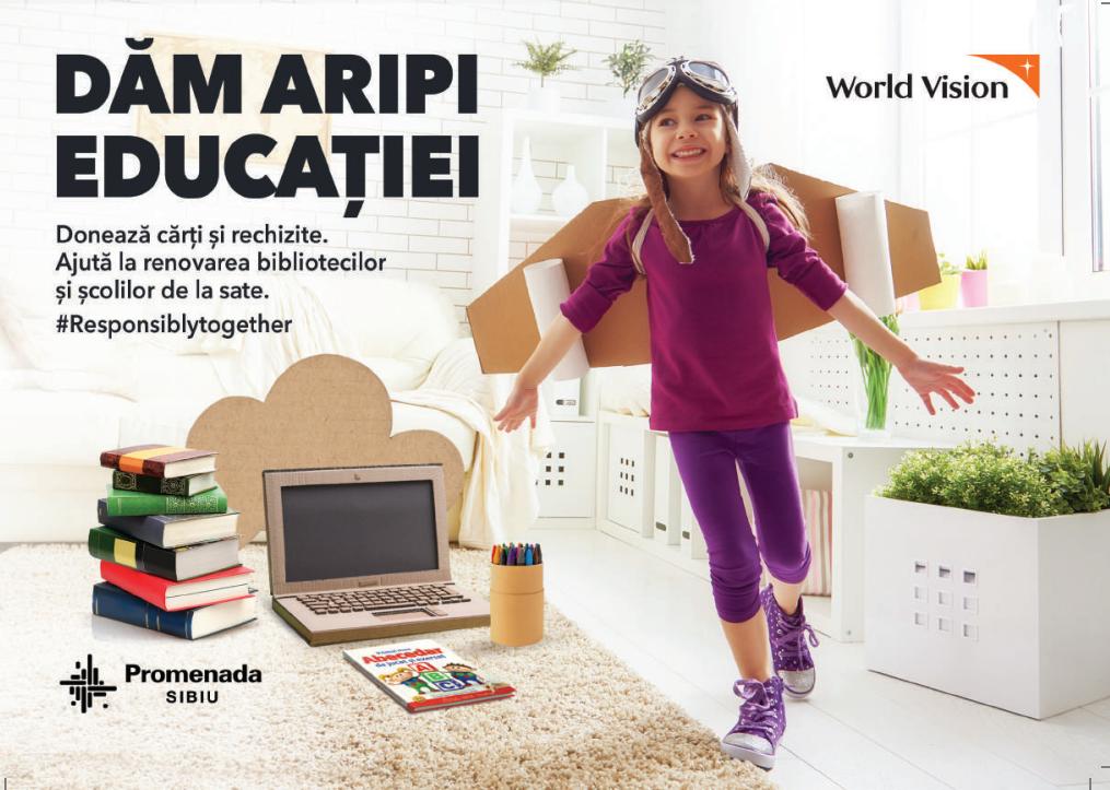 Promenada Sibiu lansează alături de World Vision campania Empty Classroom:  Un început de an școlar cu cărți și rechizite noi pentru copiii din comunitățile vulnerabile