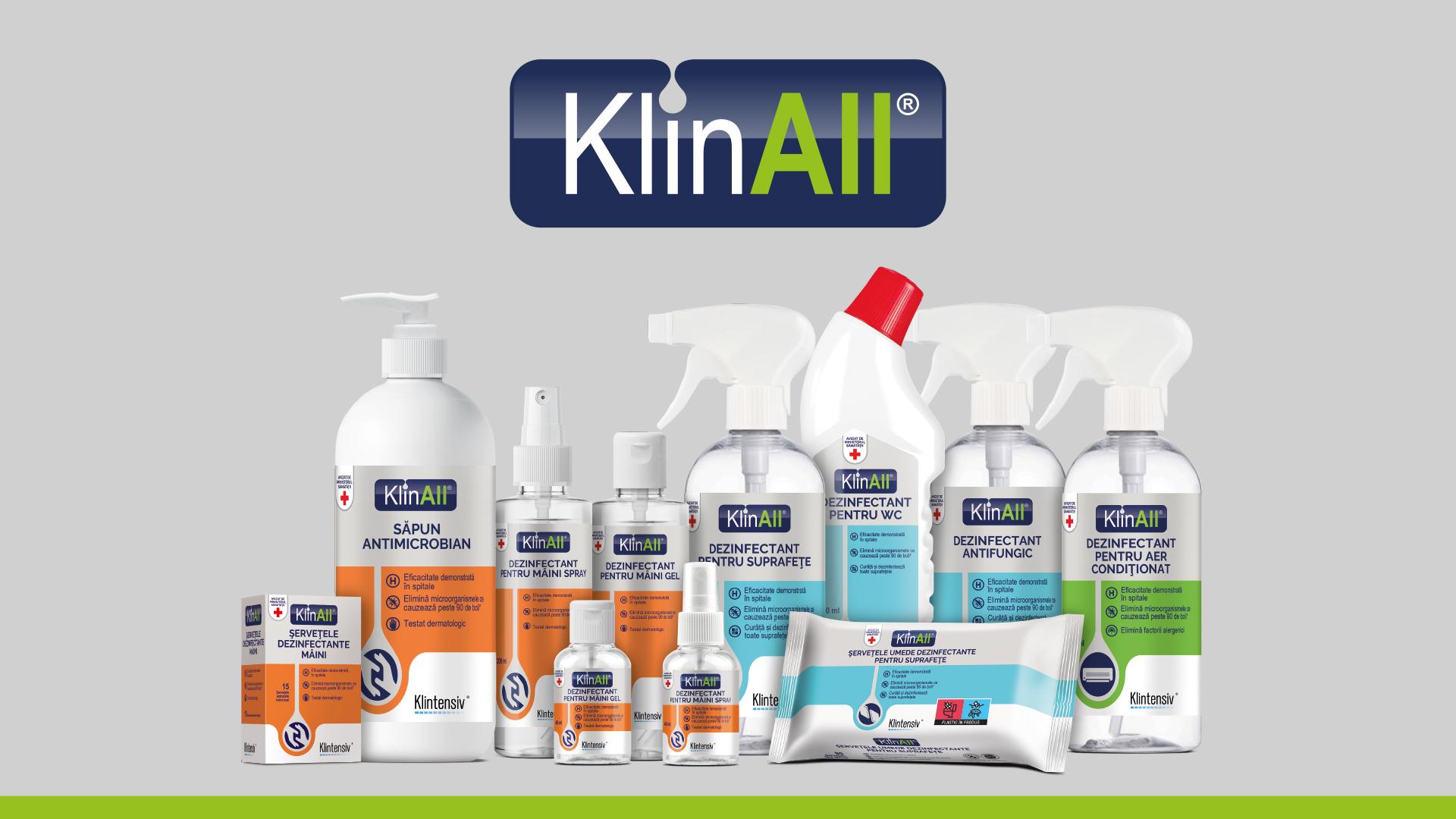 Klintensiv®, cu cele mai vândute produse în spitale în 2020, lansează un brand nou de dezinfectanți pentru consumatorul casnic. KlinAll® este singurul brand românesc din retail cu expertiză medicală și profesională