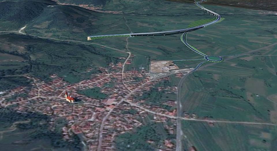 """Lotul de autostradă se va termina în dreptul comunei Boița. """"Coborârea"""" de pe acest lot se va face mai repede, către un viitor sens giratoriu amenajat la intrarea dinspre Tălmaciu. Sursa simulării: utilizatorul delacroix al forum.peundemerg.ro"""